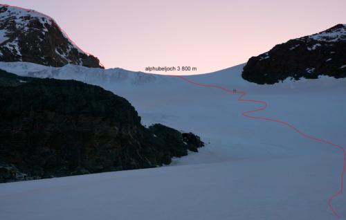Výstup do sedla Alphubel 3 800 m