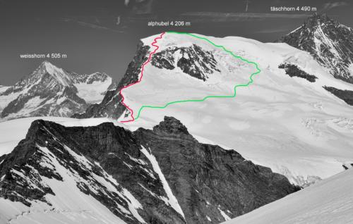 Výstupová a sestupová trasa na Alphubel